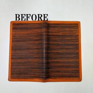 HERMES 手帳カバー クリーニング 内側部分染め直し