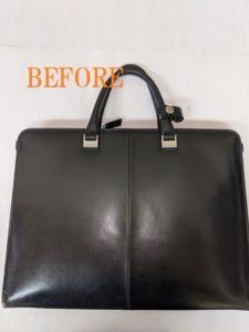 豊岡鞄 ビジネスバッグの破れの補修 染め直し