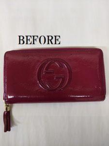 GUCCI(グッチ) エナメル長財布のリペア1
