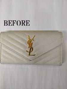 イブサンローラン 長財布のリペア、染め直し