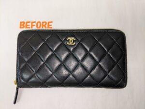 革財布修理 CHANELシャネル マトラッセ 長財布の補修、染め直し
