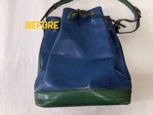 革カバン修理 Louis Vuittonルイヴィトン バイカラーのバッグのカラーチェンジ1